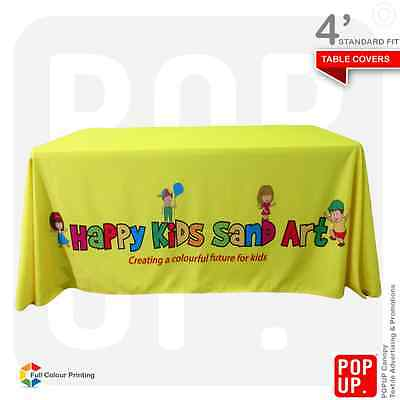 4ft Table Cover Custom Printed, Standard Fit, 4 Sided, Fast Delivery