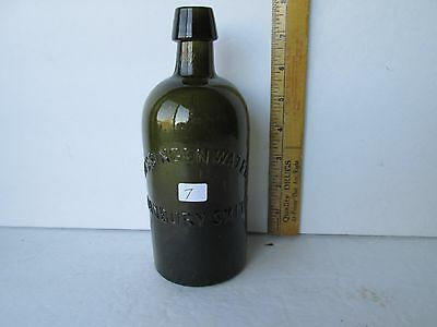 Antique Yellow Olive Mineral Water Bottle