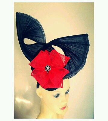 Black and red fascinator, large  races, ascot hatinator wedding hat statement