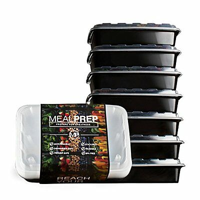 Set of 7 Meal Prep Containers - Stackable, Microwavable & Dishwasher Safe - 28oz