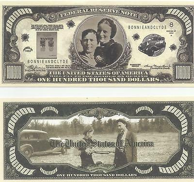 Pair (2) Of Bonnie & Clyde One Hundred Thousand Dollars Novelty Bank Notes