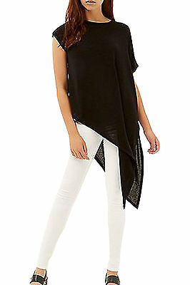 SALE Womens Ladies Asymmetric Slit Side T shirt Top Blouse Viscose Cut out Plain