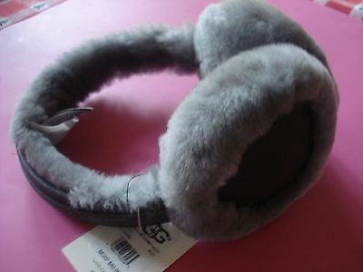 Ugg Shearling Earmuffs Leather Gray New