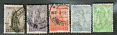 5 ANGOLA Postage Stamps USED Cancelled Portugal  Scott# 244 247 250 255 259