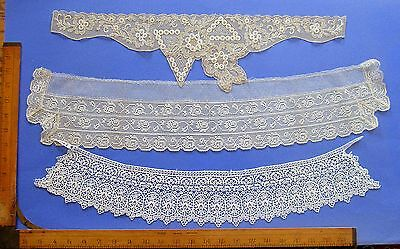 Collection of 3 Beautiful Antique Lace Collars Unused
