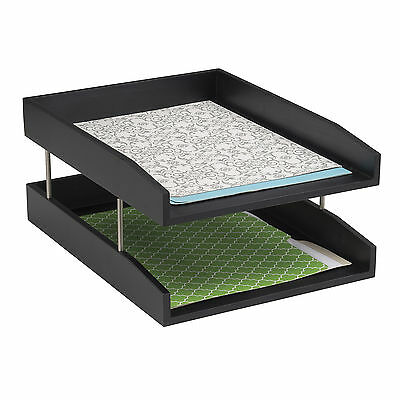 Wood Double Letter Tray Black