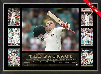 David Warner THE TON Commemorative Tribute – Framed - BEST PRICE AVAILABLE