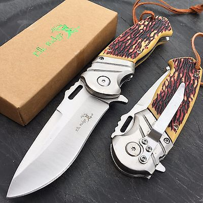 Elk Ridge Liner lock A/O Stainless Ballistic Simulated Bone Handle Pocket Knife