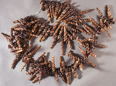 "Natural Chocolate Brown Choco Stick Spiral Shell Beads 25-35Mm 16"" Str"