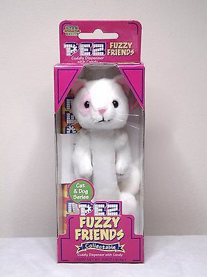 Pez Fuzzy Friends Snowball The Cat Cuddy Dispenser With Backpack Clip