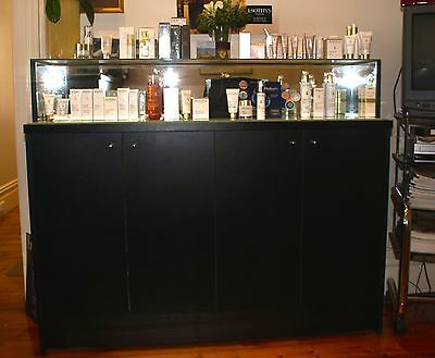 wooden, glass and mirror display shelf and cupbaord