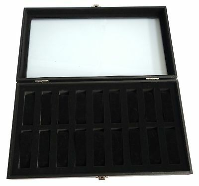 Sodynee® 18pc Black Watch Travel Tray Showcase Display Case Unit w/ Glass Top