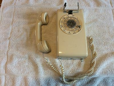 Cream/Beige Western Electric Wall Hanging Rotary Dial Phone