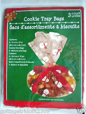 "3 CHRISTMAS ""LET IT SNOW"" CELLO COOKIE TRAY TREAT BAGS, TIES, TAGS ~ 15.5"" x 19"""