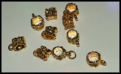 10 EUROPEAN GOLD PLATED TONE BAIL BEADS SPACERS CONNECTORS FOR CHARMS 11 x 8mm