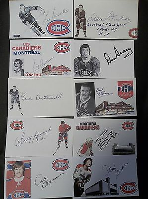 Montreal Canadiens 10 Autographed 3x5 Index Cards Lot C