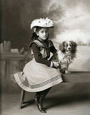 Vintage Portrait Little Girl With King Charles Cavalier Spaniel Dog MUST SEE
