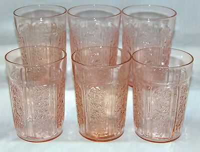 "6 Federal SHARON/CABBAGE ROSE PINK *4 1/8"" 9 oz THIN WATER TUMBLERS*"