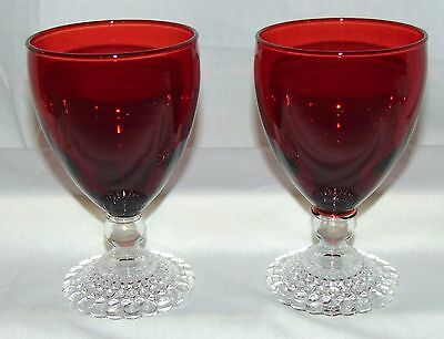 """2 Anchor Hocking BUBBLE RED *5 1/4"""" WATER GOBLETS*"""