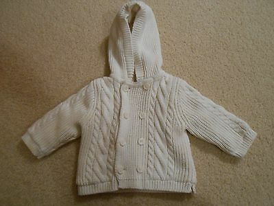 GAP Baby Boys Girls Ivory Cable Knit Sweater Cardigan Hoodie 3-6 months