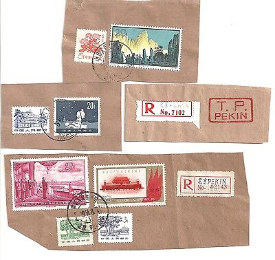 China 4 x Old stamps cover Parts Mountain Mao 1950-60s!!
