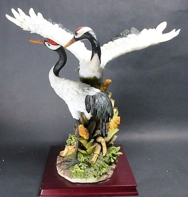 """RARE 17"""" XL Montefiori Collection Figural Dancing Wooping Cranes Courting"""