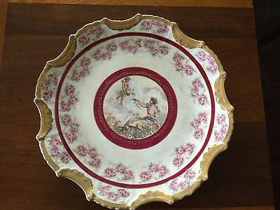 Vintage Crown Empire China Porcelain Plate-Pink Roses and Angels - Gold Trim