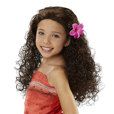 Disney Princess Moana Of Oceania Deluxe Wig Costume Hair with Flower Accessory