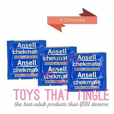 Ansell Non Lubricated Chekmate 3 condoms Free Shipping