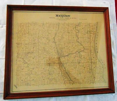 """Early plat map of Mequon township dated 1892, framed (20.5""""W x 17.5""""H ... Lot 79"""