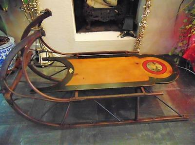 Outstanding hand painted sled coffee table signed Bigalow, hand-painte... Lot 94