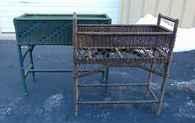 Pair of wicker plant stands, one with liner. Lot 148