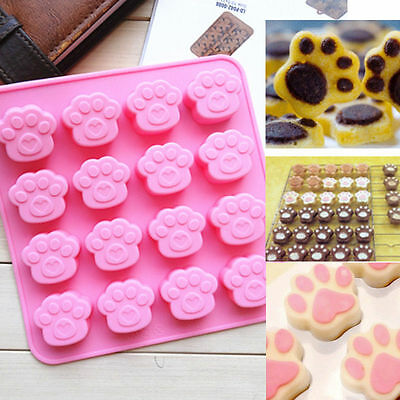 Cat Dog Paw Print Animal Silicone Chocolate Ice Mold Sugercraft Cake Topper Soap