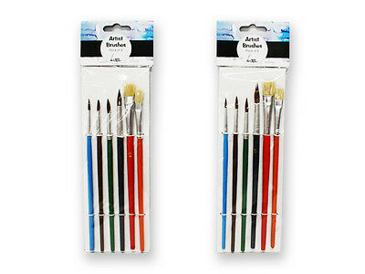 Set of 6 Multicolor Artists Brushes for Watercolour Acrylic Painting