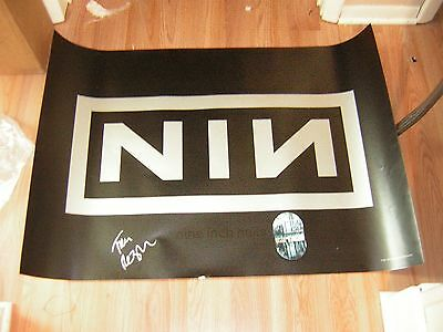 - Nine Inch Nails Poster 1996 Logo Signed Trent Reznor W/2008 Backstage Pass