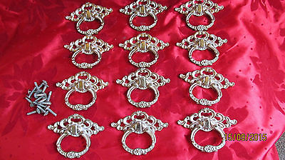 12 Authentic Vintage Antique Style brass&enamel furniture handles Shabby Chic