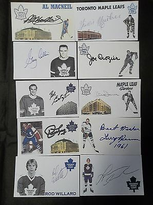 Toronto Maple Leafs 10 Autographed 3x5 Index Cards Lot G