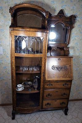 1890's Lion's Head Secretary, Gorgeous Quartersawn Oak, Curved & Beveled Glass