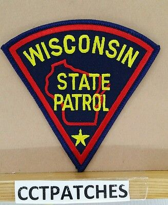"Wisconsin State Patrol Police Shoulder Patch Wi 4 1/4"" By 4 1/4"""