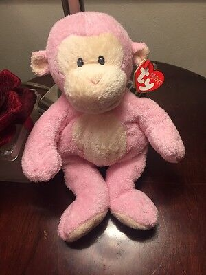 TY Pluffies Dangles Pink Monkey w/ Sewn Eyes RARE HTF Beanie Baby Plush Toy 10""