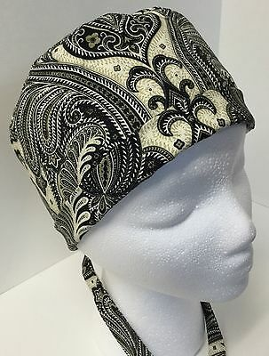 Brown &  Black Floral Large Surgery OR Skull Scrub Hat Chemo Cap