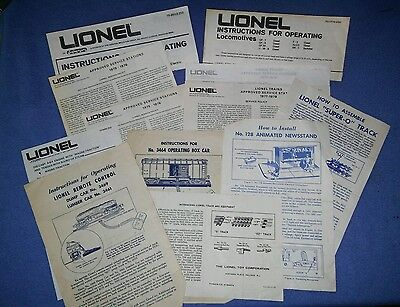 Lionel Train Instruction Papers Lot, Various Years - Nice