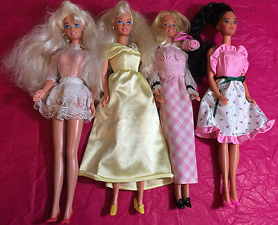 Mixed Lot Of 4 Previously Played With Barbie Dolls From 70's & 80's Lot D3