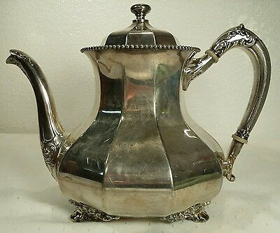 Ornate Silver Plated Reed & Barton Paneled Beaded Top Antique Teapot #3560