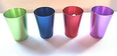 Set Of 4 Tumblers To Go Anodised Steel Drinking Cups With Case - Picnicware