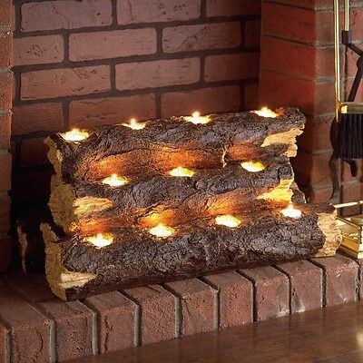 Fireplace Log Set Tealight Candle Holder Fire Rustic Realistic Imitation Summer