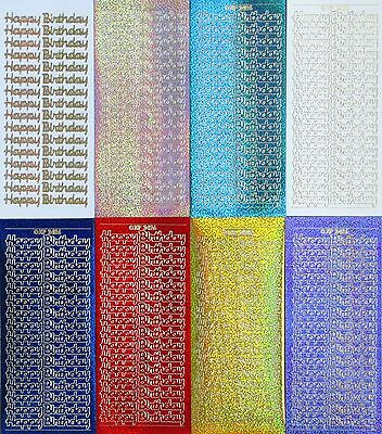 HAPPY BIRTHDAY Holographic Script Cursive PEEL OFF STICKERS Cardmaking