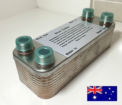 """20 Plate Wort Chiller Corrugated, Stainless Steel 304, 7.5""""x2.9"""" - Home Brew"""