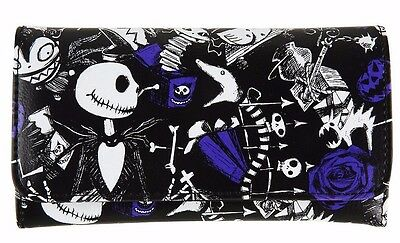 Nightmare Before Christmas NBC Sketchy Icons Flap Snap Wallet Clutch NWT