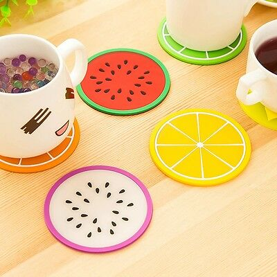 6pc Fruit Coaster Silicone Cup Drinks Holder Mat Tableware Colorful Durable NEW